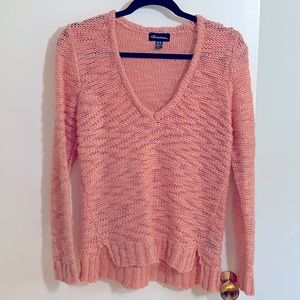Seductions Coral V Neck Long Sleeve Sweater M